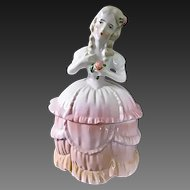 Vintage Art Deco Lady Figural Powder Jar-Half Doll German