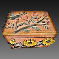 Vintage Folk Art Humming Bird Wood Trinket Box