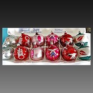 Christmas Xmas Glass Ornaments Mercury Frosted Made in Poland