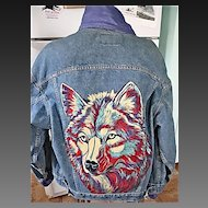 "Vintage Levi's Denim Hand Painted Jacket-Wolf 1980""s Signed"