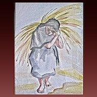 California Artist Doris Adams Watercolor Mexican Girl