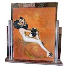 Art Deco Pierrette De Vorss Print in Lucite Skyscrapper Frame