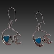 Retro LOVE Earrings Sterling & Turquoise