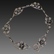 Vintage Early 20th Century Sterling Silver Floral Links Bracelet Beautiful