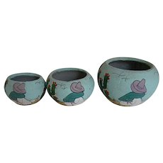 Old Mexican Hand Painted  Bowls Siesta Man Cactus Graduated Sizes