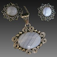 Vintage Mexican Sterling Blue Lace Agate Pendant & Earrings Set signed CII