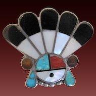 Vintage Zuni Sterling Silver Sun Face Multi-Stone Pin