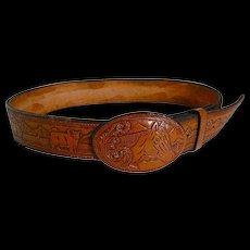 "Vintage Western Tooled Leather Horse Head Buckle & Belt Fits 30""-35"""