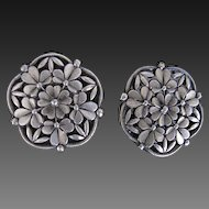 Vintage Pewter Buttons Floral 1976 large Battersea Ltd.