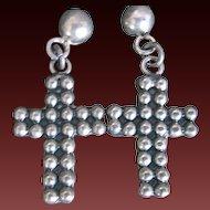 Vintage Mexican Taxco Sterling Earrings Crucifix Cross Pierced Earrings TR-15