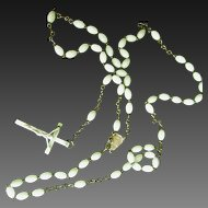 Vintage Rosary Beads Glow In The Dark  Italian Brass Links