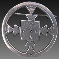 Old Navajo Sterling Symbol Sand Cast Pin Cut Out Design Unusual