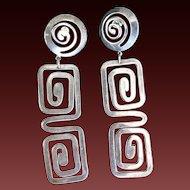 Vintage Silvertone Dangling Greek Key Earrings Pierced Long