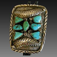 Vintage Navajo Sterling & Turquoise Bolo Tie Signed Bennett