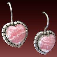 Sterling Silver Rhodochrosite  Pierced Earrings Heart Shape