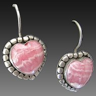 Sterling Silver Rhodochrosite  Pierced Earrings Heart Shape