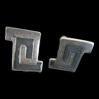 Vintage Mexican Sterling Silver Geometric Modernistic Earrings Screw Back