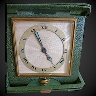 Art Deco Elgin 8 Day Travel Clock Leather Case Works