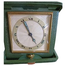 Art Deco Elgin 8 Day Travel Clock Leather Case Works