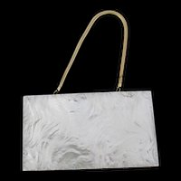 Vintage Mother of Pearl Compact Purse Marhill Label