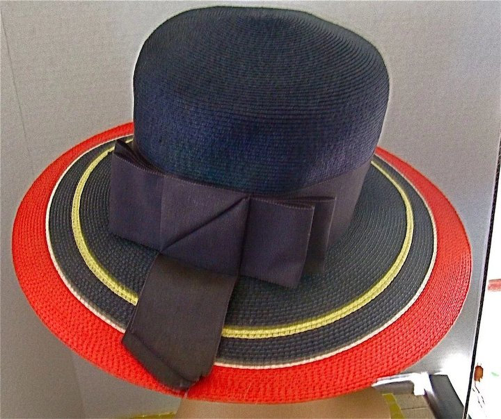 38f90028aa0 Yves Saint Laurent Vintage 70's Classic Navy Wide Brimmed Hat Straw ...