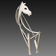 Mid Century Abstract Sterling Silver Horse Pin Signed Beau Sterling