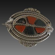 Scottish Agate Sterling Silver Pebble Brooch Pin