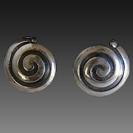 Early Mexican Sterling Earrings Screw Back  Spiral Design Signed