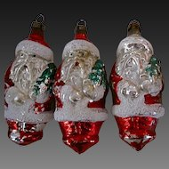 "Vintage Santa Claus Glass Ornaments 4"" Czechoslovakia Hand Blown"