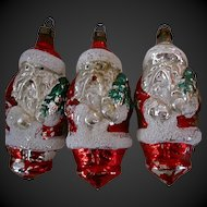 "Vintage Santa Claus Glass Ornaments 4"" Czechoslovakia Hand Blown"