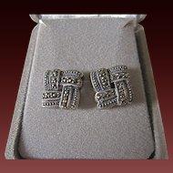 Vintage Sterling Silver Marcasite  Earrings Signed Basket Weave Design