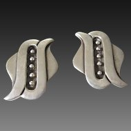 Vintage Mexican Taxco Sterling Silver Mid Century Earrings Signed Arvel
