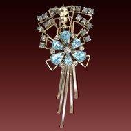 Art Deco M&S Rhinestone Gold Filled Pendant Brooch Combination