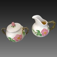 Franciscan Desert Rose Creamer & Covered Sugar Bowl - England mark