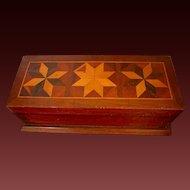Antique Wood Inlay Box Tunbridge Style