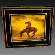 Vintage  Art Deco Framed End of the Trail Native American Indian on Horse Framed Art Print
