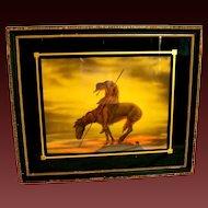 Vintage  Art Deco Framed End of the Trail Native American Indian on Horse Framed Art Print
