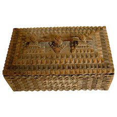 Vintage Tramp Art Cigar Box Habana Van Slyke & Horton Label Fabulous