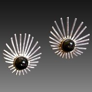 Vintage Mexican Silver  & Onyx Star Burst Earrings Signed TC interlocking Screw Backs