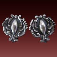 Vintage Mexican Sterling Silver Earrings Taxco Lopez Screw Back Earrings 980