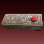 Vintage Italian Fornari Roma Lipstick Case Coral Red Stone Sterling Silver