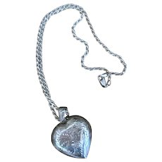 Puffy Heart Sterling Silver Locket & Sterling Chain