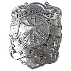 Vintage Chief Fire Dept  Badge  Philadelphia-1st. Asst.- P.F. D.- Badge  Fire Dept. Badge