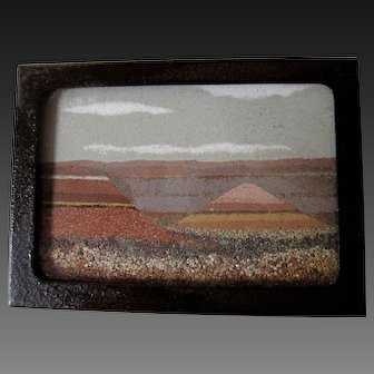 Vintage Desert Sand Painting  Frank R. Speck Co. A Bit of the Painted Desert Glass & Sand painting