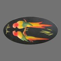 Art Deco Parrots Chalk Picture