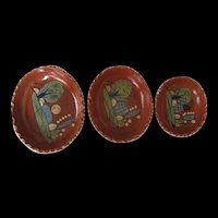 Vintage Mexican Nesting Bowls Set of three Cactus