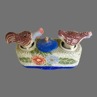 Chicken Nodder Shakers Salt Pepper Mustard / Vintage Shakers / Collectible Shakers