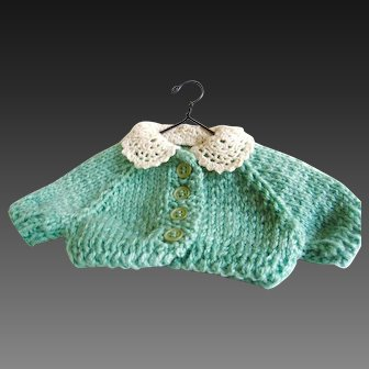 Vintage Doll's Hand Knit Sweater Lace Collar