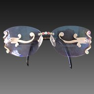 Vintage CaViar Eyeglass Frames Jeweled Austrian Crystals Ladies