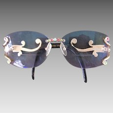 Vintage CaViar Eyeglass Frames Jeweled Austrian Crystals Ladies